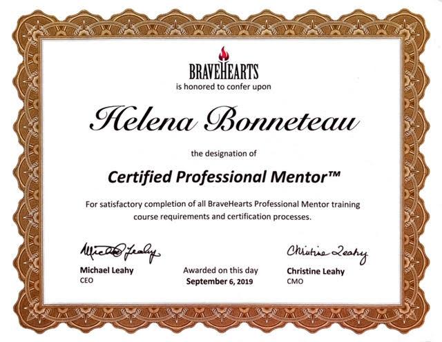 Helena Bonneteau mentoring certificate